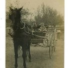 RPPC GIRL & BOY IN HORSE DRAWN WAGON VERY CUTE ! RPPC