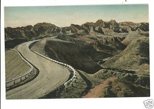 DILLON PASS BADLANDS NATL MONT SD HAND COLORED POSTCARD