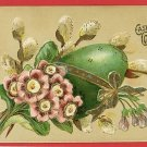 EASTER GREETING GREEN EGG PUSSY WILLOW RIBBON POSTCARD