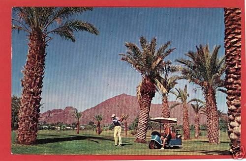 PHOENIX ARIZONA GOLFING GOLF CART 1963 POSTCARD