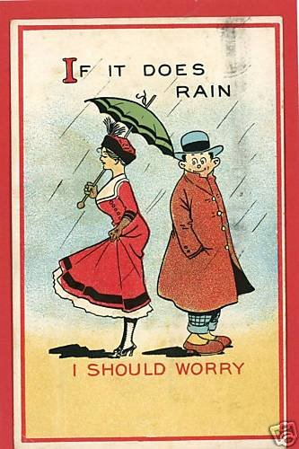 COUPLE UMBRELLA PARASOL IF IT DOES RAIN  POSTCARD