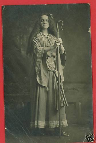 RPPC WOMAN ROBE SHEPHERD'S HOOK NECKLACE  RP POSTCARD