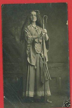 RPPC WOMAN ROBE SHEPHERD'S HOOK NECKLACE  RP POSTCARD