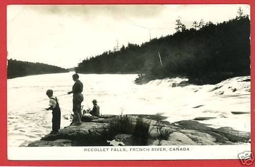 RPPC RECOLLET FALLS FRENCH RIVER CANDA FISHING POSTCARD