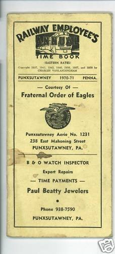 RAILWAY EMPLOYEE'S TIME BOOK PUNXSUTAWNEY PA 1970