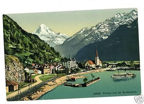 FLUELEN UND DER BRISTENSTOCK SWITZERLAND 1909  POSTCARD