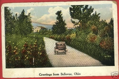 BELLEVUE OHIO OH GREETINGS FROM 1927  POSTCARD