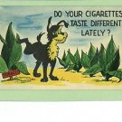 COMIC CIGARETTES DOG URINATING ON TOBACCO 1956 POSTCARD