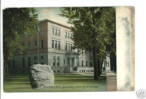 ANN ARBOR MI MICHIGAN LAW BUILDING U OF M 1908 POSTCARD
