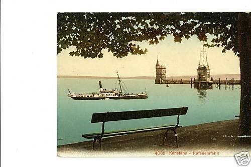 Konstanz Germany Hafeneinfahrt 4065 Vintage Postcard