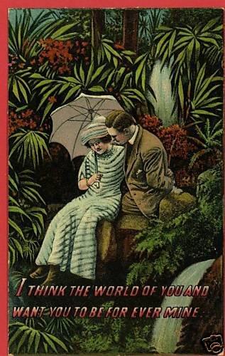 COUPLE UMBRELLA PARASOL TROPICAL LOVE  POSTCARD