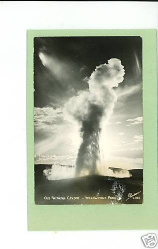 RPPC OLD FAITHFUL GEYSER YELLOWSTONE PARK WY  SANBORN