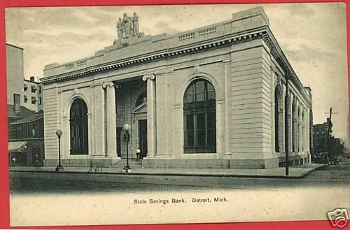 DETROIT MICHIGAN STATE SAVINGS BANK UND BACK POSTCARD