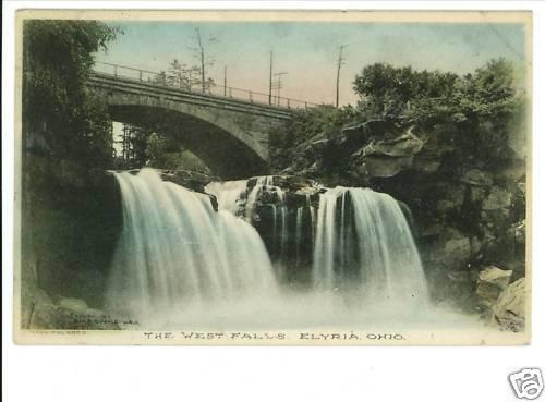 ELYRIA OH HAND COLORED 1910 POSTCARD  WEST FALLS - BINS