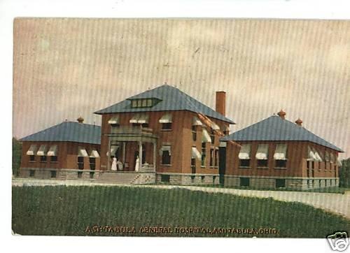 ASHTABULA OHIO GENERAL HOSPITAL 1908 POSTCARD