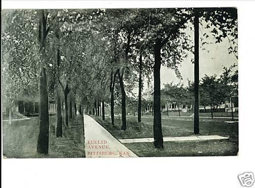 PITTSBURG KS KANSAS EUCLID AVENUE 1912 POSTCARD