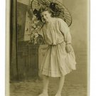 RPPC YOUNG WOMAN PARASOL INTERIOR RP POSTCARD
