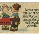 COMIC  ROLLER SKATES  DUTCH CHILDREN  VINTAGE POSTCARD