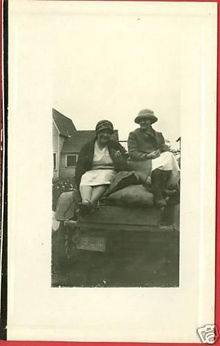 RPPC TWO WOMEN ON TRUCK BED OHIO 1924 LICENSE  RPPC