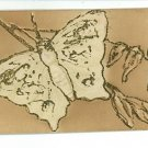 BUTTERFLY EMBOSSED VINTAGE POSTCARD BEIGE WHITE GLITTER