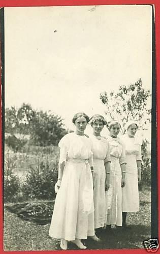 RPPC 4 WOMEN IN WHITE DRESSES BRACELETS RP POSTCARD