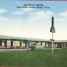 CORPUS CHRISTI TEXAS GATEWAY MOTEL POSTCARD OLD CAR