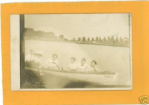 FOUR WOMEN TWO MEN  CANOE CANOEING REAL PHOTO POSTCARD