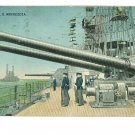 USS MINNESOTA 1917 POSTCARD GUNS SAILORS POSTCARD
