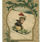 CHRISTMAS BOY SLEDDING SLED 1910  POSTCARD