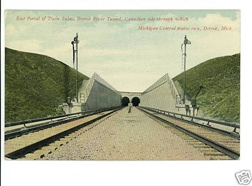 MICHIGAN CENTRAL RAILROAD DETROIT MI TUNNEL POSTCARD
