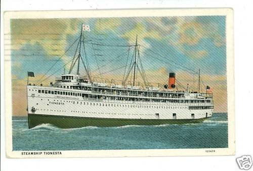 STEAMSHIP TIONESTA MACKINAC ISLAND MI 1931  POSTCARD