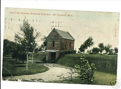 MT. PLEASANT MICHIGAN RIVERSIDE CEMETERY 1909 POSTCARD