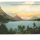 GLACIER NATL PARK MT HAND COLORED POSTCARD ST MARY