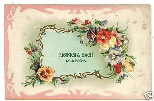 KRANICH & BACH PIANOS ADVERTISING EMBOSSED POSTCARD