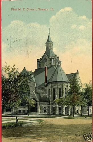 STREATOR ILLINOIS FIRST M E CHURCH 1916 POSTCARD
