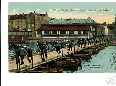 FRENCH CALVALRY CROSSING MARNE PONTOON BRIDGE WWI PSTCD