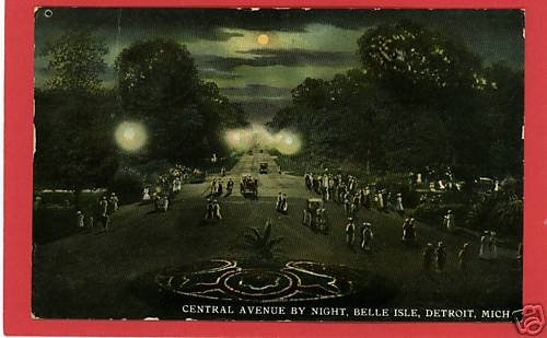 BELLE ISLE DETROIT MICHIGAN CENTRAL AVE 1911 POSTCARD