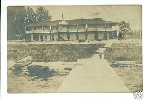 HOTEL ON LAKE REAL PHOTO POSTCARD RESORT UNIDENTIFIED