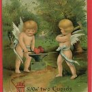 CUPIDS HEARTS ANVIL BOW ARROW HAMMER VALENTINE POSTCARD