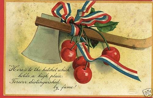 PRES WASHINGTON HATCHET CHERRY S. GARRE 1908 POSTCARD