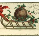 CLAPSADDLE SLED CHRISTMAS BALL ARTIST SIGNED  POSTCARD