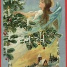 CHRISTMAS CUPIDS ANGELS SILVER GOLD EMBOSSED POSTCARD