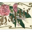 HATTIE LARGE LETTER NAME CARNATIONS  POSTCARD