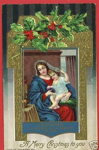 CHRISTMAS WINSCH MIGNARD 1910 MADONNA CHILD POSTCARD