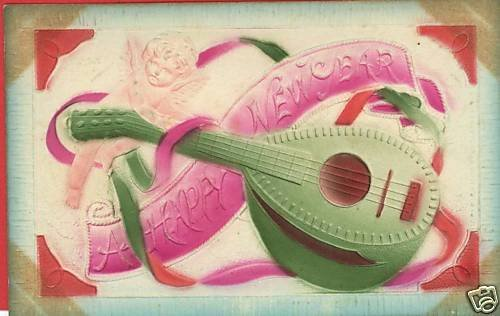 NEW YEAR ANGEL MANDOLIN MUSIC  POSTCARD