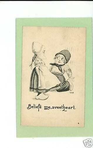 BERNHARDT WALL DUTCH CHILDREN SWEETHEART 1912 POSTCARD