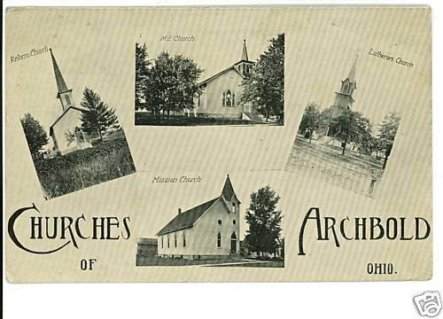 ARCHBOLD OHIO OH CHURCHES 1915 POSTCARD