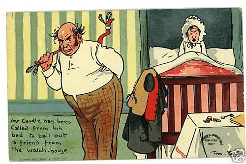 TOM BROWNE MR CAUDLE BED BAILING OUT FRIEND  POSTCARD