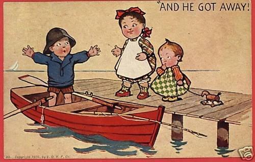 BOY FISH STORY ROWBOAT GIRLS TOY 1906  POSTCARD