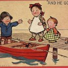 BOY FISH STORY ROWBOAT GIRLS TOY 1906  POSTCARD